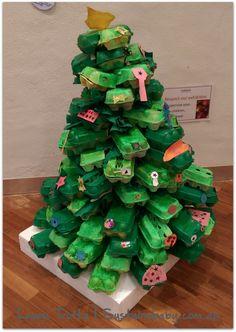 Egg Carton Handmade Christmas Tree from recycled materials Handmade Christmas Tree, Christmas Trees, Christmas Crafts, Egg Cartons, December 2014, Recycled Materials, Recycling, School, Xmas Trees