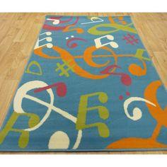 Music Rugs for Home | Home › Rugs › Children / Bedroom › Range 13 - Blue Music Symbols ...