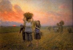 Breton shows a single gleaner stretching against a backdrop of the setting sun, while behind her others still labor in the field.