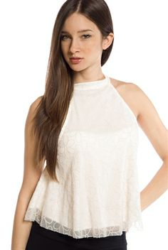 Marguerite Mod Floral Print Sleeveless Mock Neck Top - Ivory from Shelly at Lucky 21