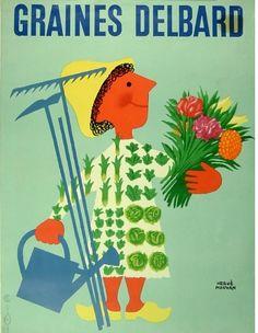 Vintage Poster - Graines Delbard - Garden - Gardening - Spring - Flowers - Clogs
