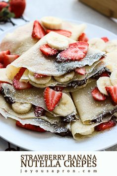 Strawberry Banana Nutella Crepes - A simple and delicious sweet treat for breakf. - Strawberry Banana Nutella Crepes – A simple and delicious sweet treat for breakfast, brunch, dess - Crepes Nutella, Banana Crepes, Nutella Chocolate, Desserts Nutella, Banana Dessert, Dessert Chocolate, Easy Crepe Recipe, Crepe Recipes, Easy Recipes