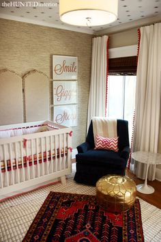 Chic Baby Room: Hunted Interior: Oh My Nursery! A Client's Room Reveal Chic Baby Rooms, Chic Nursery, Nursery Room, Girl Nursery, Kids Bedroom, Nursery Decor, Red Nursery, Nursery Ideas, Project Nursery