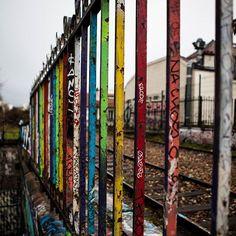 #colored #iron #fence of a #abandoned #railroad ! #barrières pleine de #couleurs d'un #chemindefer #abandonné ! #Paris #petiteceinture #graffiti #art #streetart #streetphotography #canon #5dmk2 #StraigtOfLR #adobe #lightroom #colors #peint #peinture