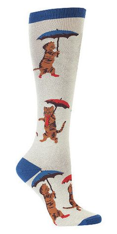 Its Raining Cats Knee Socks:It's raining cats! Meowllelujah, it's raining cats! These darling womens knee socks feature little kitties with umbrellas and are 75percent cotton, 20percent polyester, 5percent spandex. Approximately fits women's shoe 5-10. $10.00