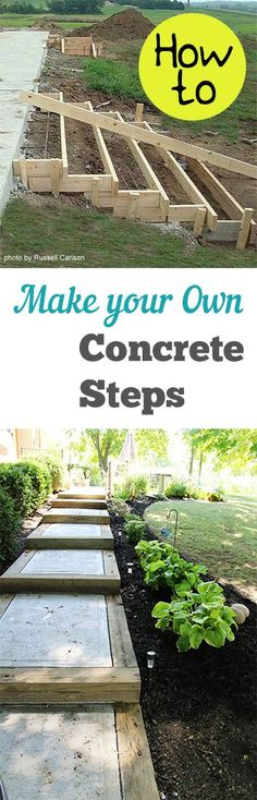 Garden Stepping Stones How to Make Your Own Concrete Steps. Projects and tutorials for making cement steps for your outdoor space.How to Make Your Own Concrete Steps. Projects and tutorials for making cement steps for your outdoor space. Concrete Projects, Backyard Projects, Outdoor Projects, Garden Projects, Outdoor Decor, Cement Crafts, Diy Concrete, Backyard Patio, Diy Patio