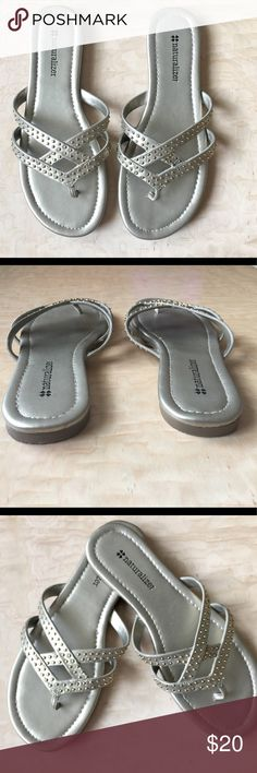 Naturalizer Sandals Naturalizer Sandals with decor on straps, gold color, very good condition Naturalizer Shoes