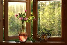 """Закатно-подоконничный натюр или """"виндоуз для чайника"""" ;) Photo  (vase, flowers, window, still life)"""