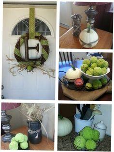 Hedge apples and white pumkins. Autumn decor.