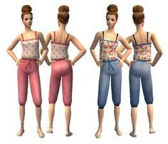 Mod The Sims - Cherry Blossom Jumpsuits / H&M Recolour (AF)