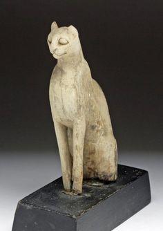 Egyptian Bastet Goddess Carved in Wood