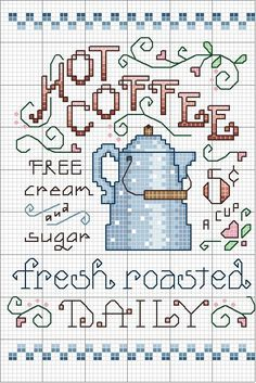 Cross-stitch Coffee.. no color chart, just use pattern chart colors as your guide.. or choose your own colors.    Schema punto croce Quadri Cucina
