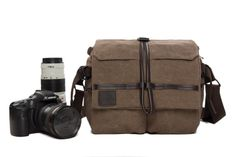 Waterproof Canvas DSLR Camera Bag for Canon EOS Nikon Sony Olympus 1179