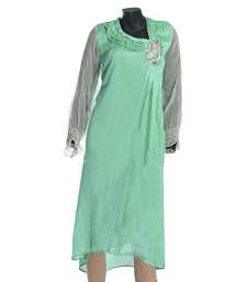 Buy Green Coloured Chiffon Kurti kurtas-and-kurti online