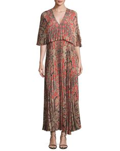 VILSHENKO Paisley-Print Light Crepe Maxi Dress, Red Pattern. #vilshenko #cloth #