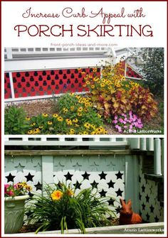 Who knew there is a name to the panels you can put up around your porch? Porch skirting. That's it! See how a porch can be made more attractive with porch skirting: http://www.front-porch-ideas-and-more.com/porch-skirting.html #vinyllatticepanels