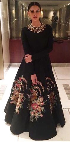 71374d4d2d74 Aditi Rao Hydari in a black floral embroidered gown by Sabyasachi at Kaatru  Veliyidai Promotional event
