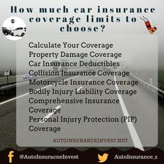 how much car insurance coverage limits to choose auto Low Car Insurance, Auto Insurance Companies, Personal Injury Protection, Traffic Camera, Bodily Injury, How To Move Forward, Got Quotes, Autos