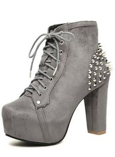 Gray Suede Chunky Heel Ankle Boots With Rivet S008130,  Shoes, Gray Suede Chunky Heel Ankle Boots, Chic