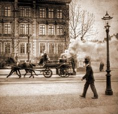 Fire Engine (monoscopic)  An amateur photograph of a horse-drawn fire engine. (Germany - probably Leipzig - about 1900)