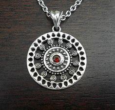 Silver necklace,garnet silver pendant,spiral necklace,spiral pendant,mens silver necklace,womans necklace,womans pendant,garnet necklace.