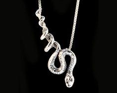 Snake Necklace Silver Snake Pendant Snake Jewelry by martymagic Snake Necklace, Snake Jewelry, Animal Jewelry, Cute Jewelry, Women Jewelry, Fashion Jewelry, Stylish Jewelry, Silver Necklaces, Silver Jewelry