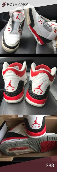 💘Fire Red Air Jordan Retro 3 Great condition  Size 6 Youth  My son out grew them.   Will clean and provide new laces.                            The pricing could have been lower but I have to adjust do to Poshmark fees... 😕sorry. They are cheaper else were If serious in buying just ask where. Nike Shoes Sneakers