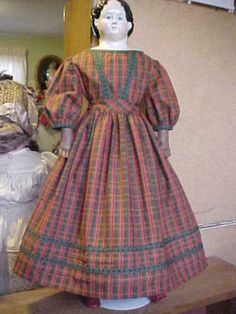 """Antique Repro Holiday Plaid Dress For 26-28"""" Greiner, China, Izannah Walker Doll"""