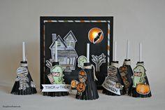 Kleinigkeiten zu Halloween. Eine LED Karte und einige Hexenbesen.