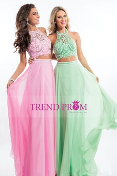 2016 Two Pieces Prom Dresses Halter A Line Chiffon Sweep Train With Beading