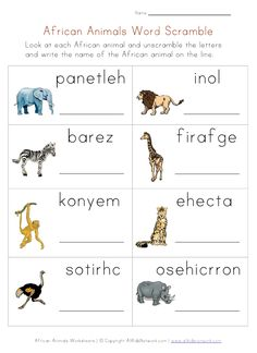 Animals Worksheets - African Animals