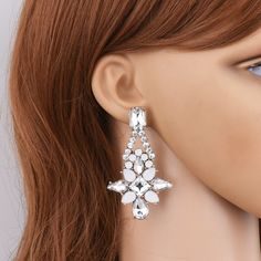 Rhinestone Teardrop Drop Earrings - $3.50