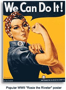Rosie the Riveter and all she stands for. Painted by J. Howard Miller.