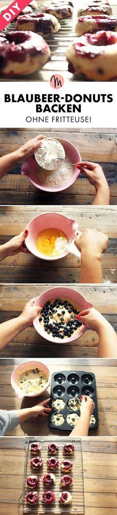 Blaubeer-Donuts backen - ohne Fritteuse/Blueberry Donuts - Rezept via Makerist.de