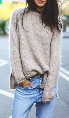 knit and denim | nude sweater + jeans