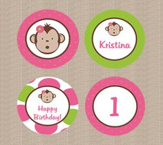 Pink Mod Monkey Cupcake Toppers. $8.00, via Etsy.