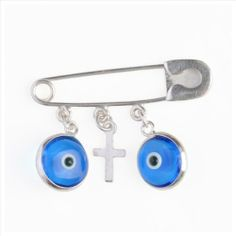 Evil Eye Sterling Silver Baby Pin Protection Charm with Cross Lucky Charms USA. $24.95. Great gift for newborns. Handmade Solid .925 Sterling Silver. Fast reliable shipping. Great and meaningful gift idea. For good luck and protection from the Evil Eye