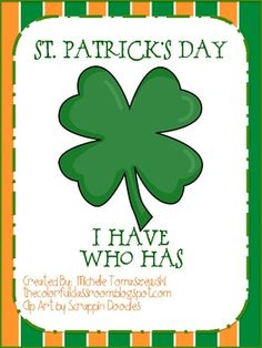 """St. Patrick's Day """"I have...Who has?"""" Number + Alphabet Game"""