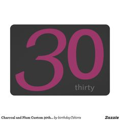 "Charcoal and Plum Custom 30th Birthday Invitation 5"" X 7"" Invitation Card"