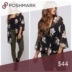 New black sheer floral kimono - similar to SMYM Made in the USA  100% polyester  If you like show me your mumu you'll absolutely love this brand as their products are very similar. Extremely high quality products with beautiful prints with a more affordable price. kallimari Sweaters Cardigans