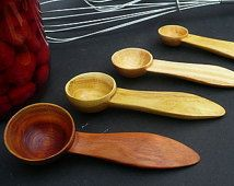 Wooden measuring spoon set, wooden measuring spoons, measuring scoops, fruit wood spoon set, kitchen scoops