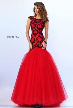 Sherri Hill Prom Spring 2016 # 50016 www.thecastlepromandbridal.com Colors: blush, blue, red/black