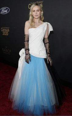 Tulle Time from What the Fashion Captain Marvel star Brie Larson wears a white gown with blue tulle skirt and sheer black gloves at the NAACP Image Awards. J Lo Fashion, Fashion Show, Star Fashion, Celebrity Outfits, Celebrity Style, Black Film Festival, Blue Tulle Skirt, Brie Larson, White Gowns