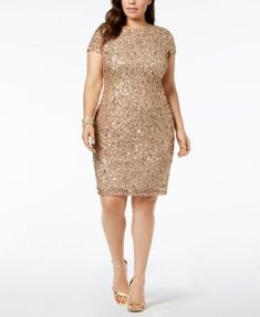 Adrianna Papell Plus-Size Sequin-Embellished Sheath Dress - Tan/Beige 1 Plus Size Wedding Guest Dresses, Plus Size Party Dresses, Tea Length Dresses, Plus Size Outfits, Mother Of The Bride Suits, Mother Of Groom Dresses, Bride Dresses, Cheap Dresses, Dresses For Work