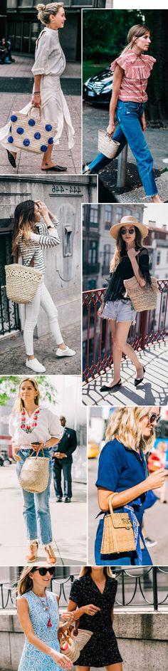 Street style look com bolsa de palha.