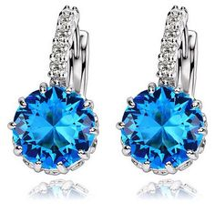 New Platinum Plated Jewelry Big Round Zircon Earrings One Pair Crystal Hoop Earrings For Women Luxury Weding Bridal Jewelry