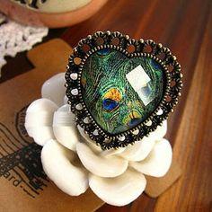 Fashion Retro Punk Woman Peacock Feather Heart Rings