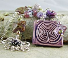 Labyrinth Necklace Purple Ceramic Pendant by LindaLandigJewelry, $60.00