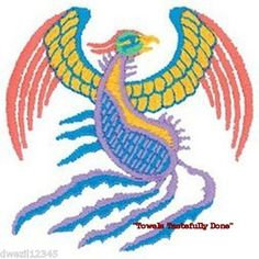 COLORFUL PHOENIX BIRD - 2 EMBROIDERED HAND TOWELS by Susan