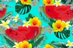 Beautiful seamless vector floral pattern background with watermelons, tropical flowers, hibiscus, palm leaves, jungle leaf.